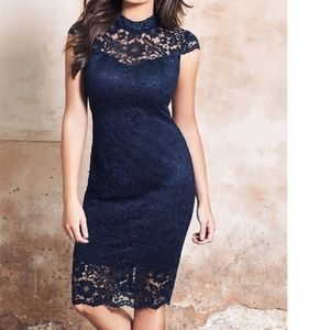 Collette Navy Scallop High Neck Lace Bodycon Dress